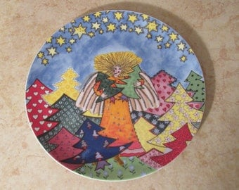 Vintage Kiki Japanese Collector Plate - The Angel Who Takes Care of the Christmas Trees - 1997