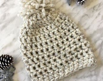 Crochet Chunky Hat | Poof Ball Hat | Warm Ladies Toque