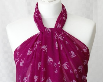 Sarong, Magenta swan print sarong, Beach cover up, Oversized scarf, Shawl, Beach wrap, Fashion accessories