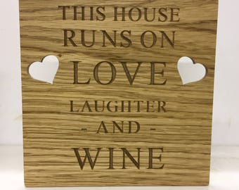 Carved wine plaque oak veneer