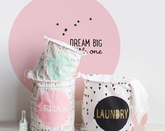 laundry basket , laundry fabric basket , toy basket , cotton hamper , cotton basket , home  decor , nursery decor