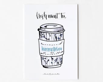 fresh mint tea. Hand-drawn postcard with coffee mugs and Handlettering