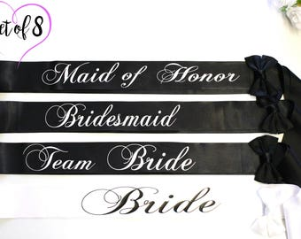 Weddings Hen party Bride sash Bridesmaid sash Bachelorette party Wedding Sash Bride Plus Size Set of 8 Bridal Sash Bridesmaid Personalized