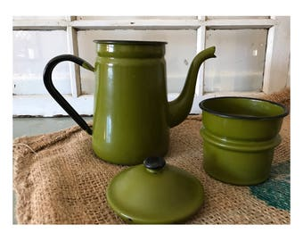 Vintage Green Enamel Biggin Coffee Pot