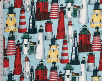 Quilt Cotton Fabric 48 x 44 GUIDING LIGHT Alexander Henry Lighthouses