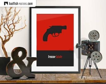 Femme Fatale Print, Modern Graphic Style Poster, 22 Caliber Gun, Vamp, Minimalist Design, Cosmopolitan Wall Art, Gift, Revolver, Digital Art
