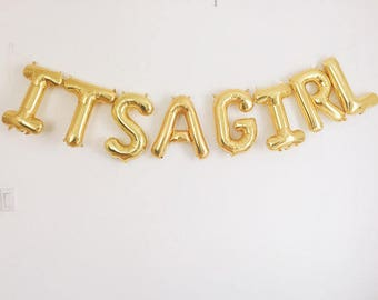 "3d Gold 16"" Foil Balloons 'ITS A GIRL' Baby Shower Oh Baby'  CONGRATS 3D Silver, Pink with hearts"