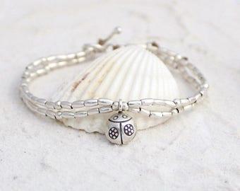 Hill Tribe Silver - Rice Beads - Lady Beetle Bracelet - Ladies Bracelet - Teenagers - Double Strand Bracelet -  Beautiful Bracelet