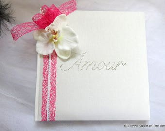 Fuchsia with Orchid and white wedding guest book