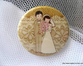 Badge for wedding - couple groom-guest gift