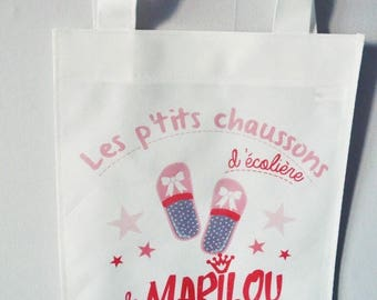 BAG SLIPPERS pink personalized with name