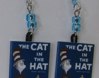 Cat In The Hat Mini Book Earrings E298