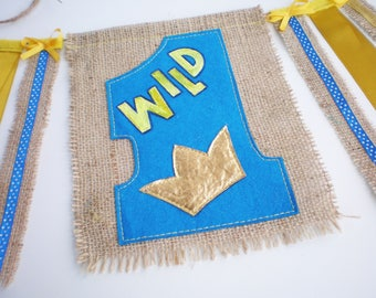 Wild One party garland First high chair banner Where the Wild Burlap banner party One birthday banner Baby wall décor 1st birthday supplies