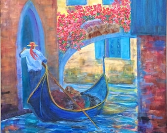 Venetian Gondolier, original oil painting, archway decorated with flowers