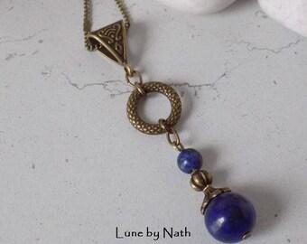 Necklace fine Indigo lapis lazuli stone beads