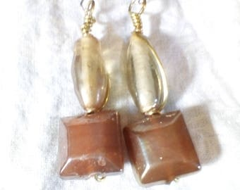 neutral beaded earrings