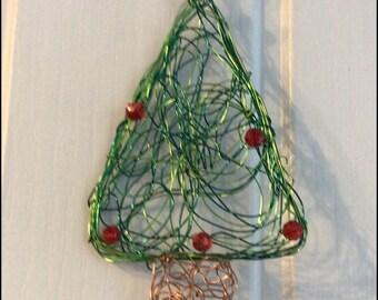 wire Christmas tree decoration hanging tree Xmas decoration beaded decoration