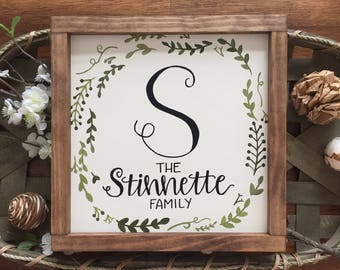 Custom Family Name Sign, Last Name Sign, Established Sign, Wood Framed Sign, Name sign, Farmhouse decor