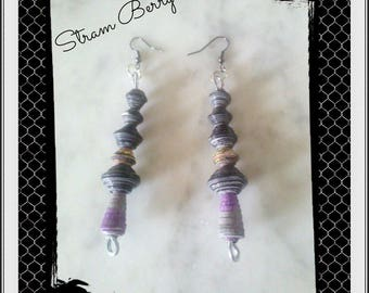 Elegant long earrings made from recycled paper