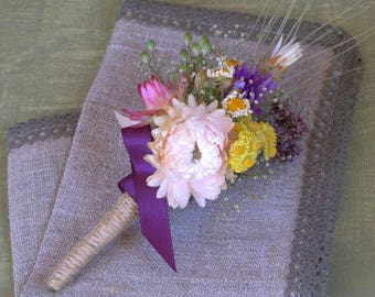 Dried flowers Boutonniere, rustic wedding, farmhouse wedding, organic