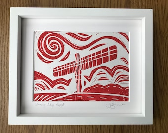 Angel of the North Linocut (red)