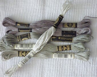 SET OF 6 SKEINS OF COTTON EMBROIDERY FLOSS SPECIAL GREY