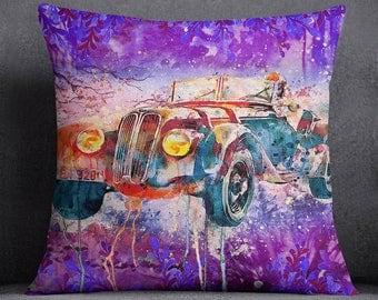 Vintage Car Printed Multicolour Pillow Case, Decorative Cushion Cover, Modern Cushion Cover, Cushion Cover Throw, SUB-SAS155A