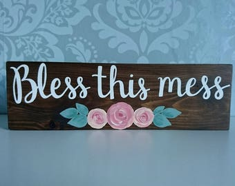 Bless this mess Rustic Wood Block Sign // Handmade // Rustic Decor // Home Decor // Family