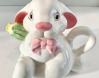 Vintage White and Pink Porcelain Bunny Teapot with Tulip Spout