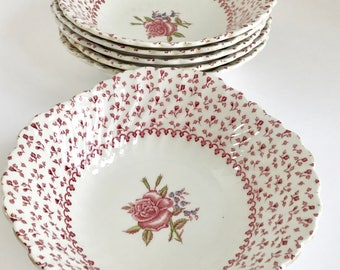 Set of 4 Vintage Johnson Bros Rose Bouquet Pattern Cereal Bowls