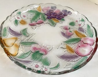 "Vintage 14"" Glass Platter with 3D Colored Fruit and Curved Edges"