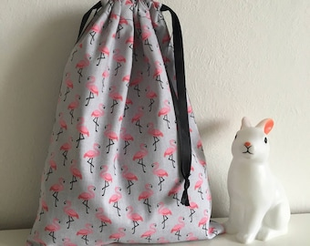 Bag storage pouch (pajamas, blanket, linen and other treasures) Flamingo or lingerie bag / socks and others for