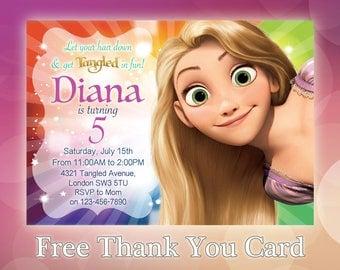 Rapunzel Invitation / Rapunzel Birthday Invitation / Rapunzel Party Invite / Disney Princess Invitation / Tangled Invitation / TG01