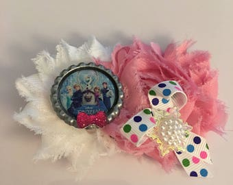Frozen polka dot hair clip