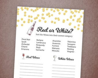 Red or White Wine, Bridal Shower White or Red Wine Game Printable, Gold Confetti Polka Dots, Guess the Wine Quiz, Bridal Shower, A001