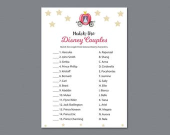 Cinderella Disney Couples Match Game, Match Disney Couples, Bridal Shower Game Printable, Fairy Tale , Famous Couples Match Game, A012