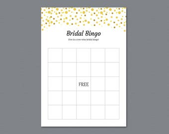 Empty Bingo Cards, Bridal Shower Games Printable, Gold Dots Glitter, Party Games, Bachelorette Party Games, Wedding Shower Activity, A015