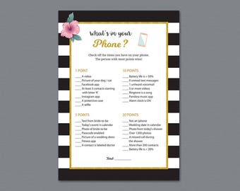 Kate Spade Whats in your Phone Game Printable, Gold Black White Stripes, What's on Your Phone, Bridal Shower Games, Wedding Shower, A014