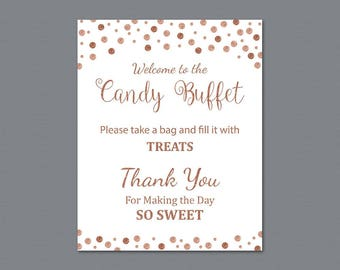 Candy Buffet Sign, Printable Candy Bar Sign, Rose Gold Burgundy Table Sign, Grab a Treat Sign, Baby Shower, Bridal Shower Decor, A009