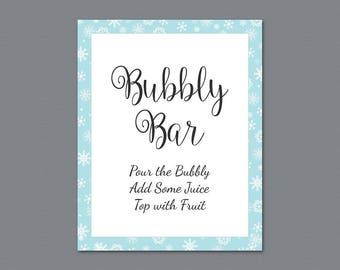 Pop the Bubbly She's Getting a Hubby Sign, Winter Snowflakes, Unique Bridal Shower, Bachelorette Party Decor, Wedding Bubbly Bar Sign, A026