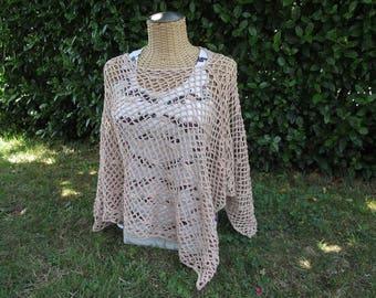 Handmade crochet poncho summer single size