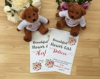 flower girl gift personalised teddy bridesmaid gifts