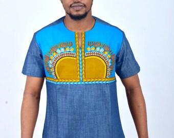 Doumba Dashiki African Traditional Shirt Attire - Blue Denim/Print