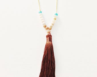Beaded tassel necklace, tassel necklace, Boho necklace, gift for her