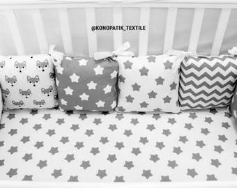 GRAY stars and chevron baby bedding, crib bedding, baby bedding boy, baby bedding girl, crib bumper, pillow bumper, crib sheet, bumper,