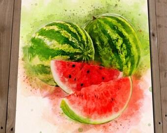 Watermelon Art Print - Kitchen Wall Art - Fruit Print - Watermelon Painting - Watermelon Watercolor Style - Kitchen Art - Kitchen Prints