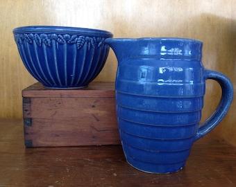 Vintage Ribbed Stoneware Bowl & Pitcher