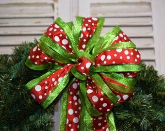 Polka Dot Christmas Bow, Green Sparkle and Polka Dot Bow, Christmas Bow, Holiday Bow, Wreath Bow, Swag Bow, Christmas Tree Bow, Lantern Bow