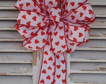 Valentine's Day Hearts Bow, Valentine's Day Bow, Red Hearts Bow, Wreath Bow, Decorative Bow, Gift Bow