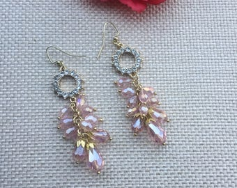 dangle earring,earrings,long earring,gold earring,pink earring,drop earring,beaded earring,earring
